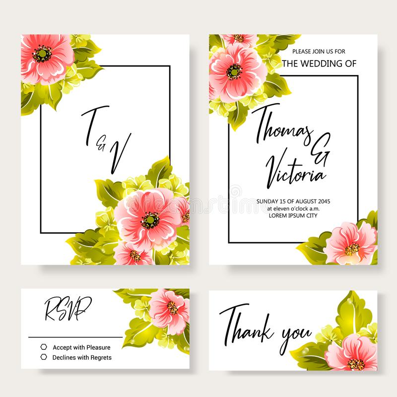Wedding invitation template with floral decorative elements royalty free stock image