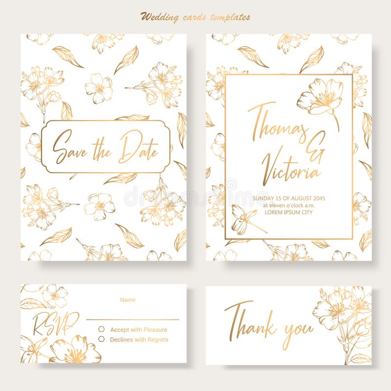 Wedding invitation template with golden decorative elements stock images