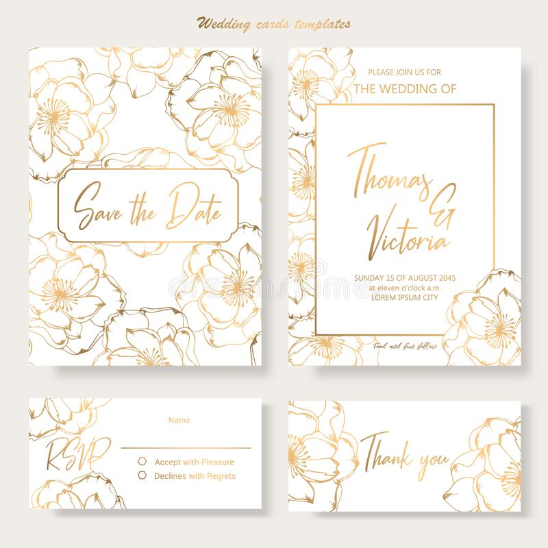 Wedding invitation template with golden decorative elements stock image
