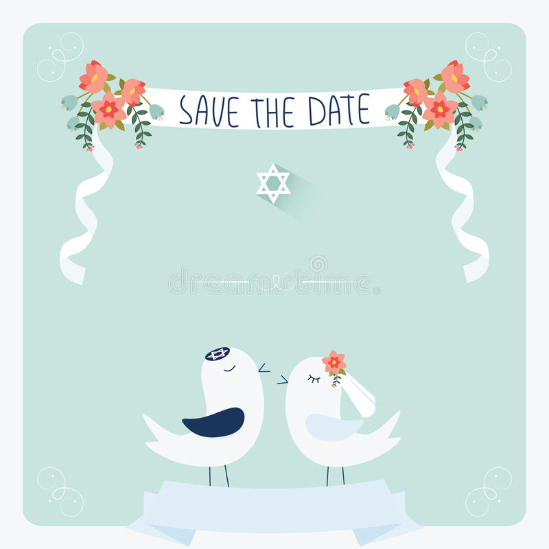 Wedding invitation template. Jewish wedding invitation template. Cute couple of birds under chuppah royalty free illustration