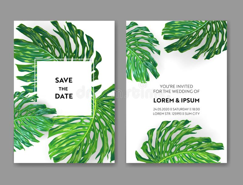 Wedding Invitation Template with Monstera Palm Leaves. Tropical Save the Date Card. Summer Botanical Design for Poster. Greeting Card. Vector illustration royalty free illustration