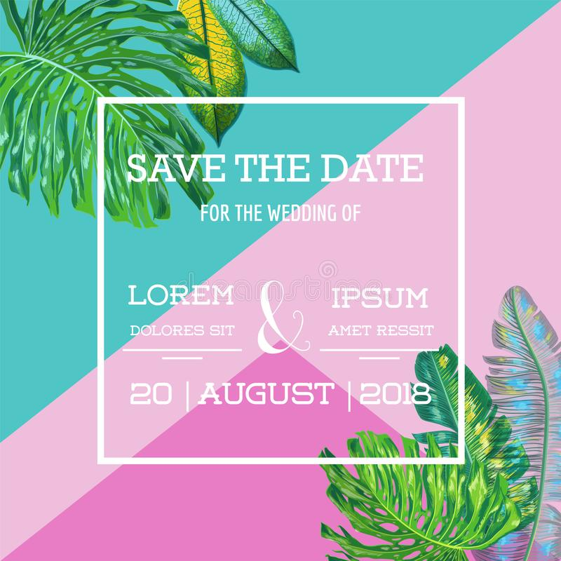 Wedding Invitation Template with Palm Leaves. Tropical Save the Date Card. Summer Botanical Design for Poster, Greetings. Wedding Invitation Template with Palm stock illustration