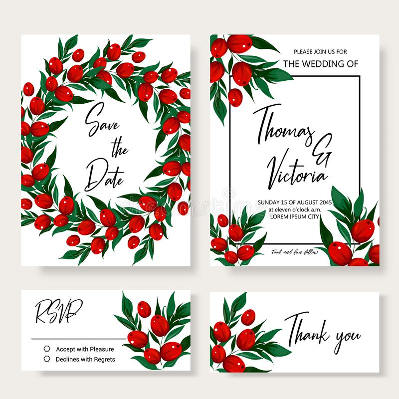 Wedding invitation template with red berry blossom royalty free stock image