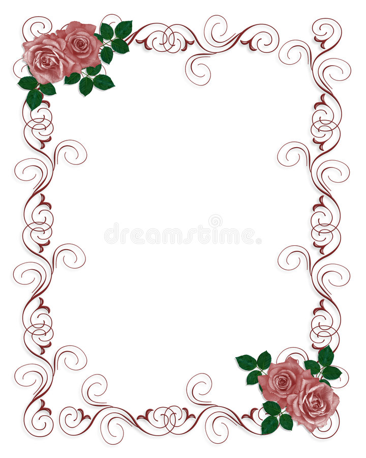 Wedding Invitation Template Red Roses Stock Illustration - Wedding invitation templates: red wedding invitation templates