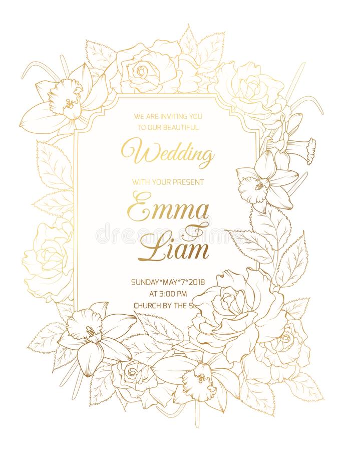 Wedding invitation template rose peony narcissus. Wedding marriage event invitation vintage card template. Border frame garland blooming rose peony narcissus vector illustration