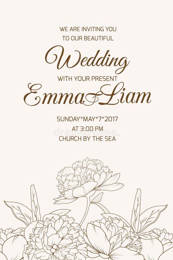 Wedding Invitation Template Rose Peony Sepia Brown Stock Vector ...