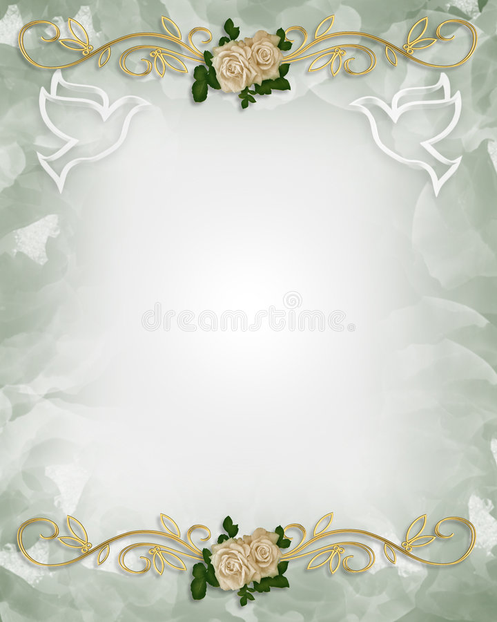 Wedding Invitation Template Roses Stock Illustration
