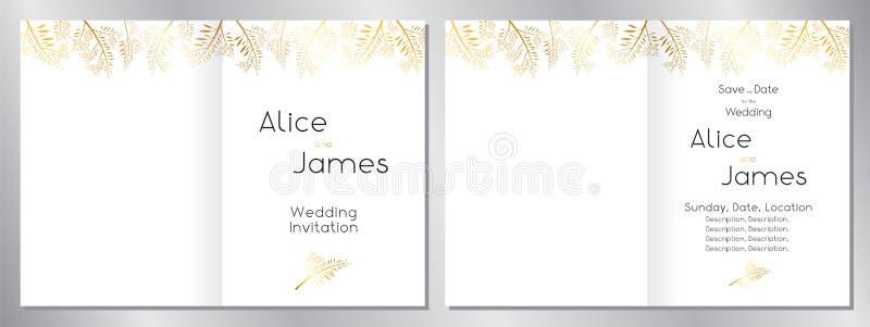 Wedding invitation template - 2 x A5 size 148x210 mm 向量例证