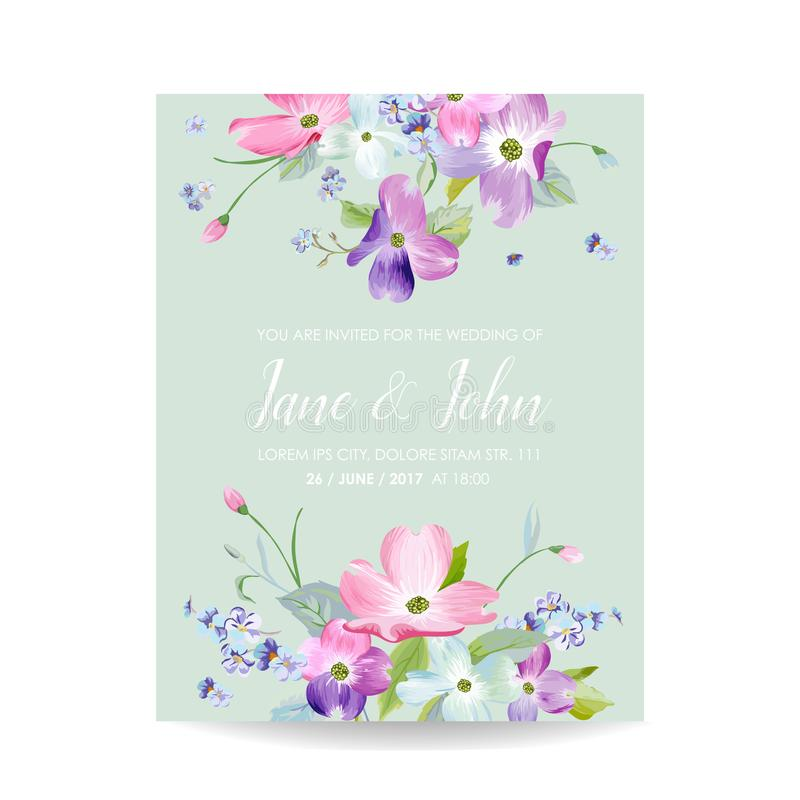Wedding Invitation Template with Spring Dogwood Flowers. Romantic Floral Save the Date Greeting Card for Celebration. Watercolor Botanical Design. Vector royalty free illustration