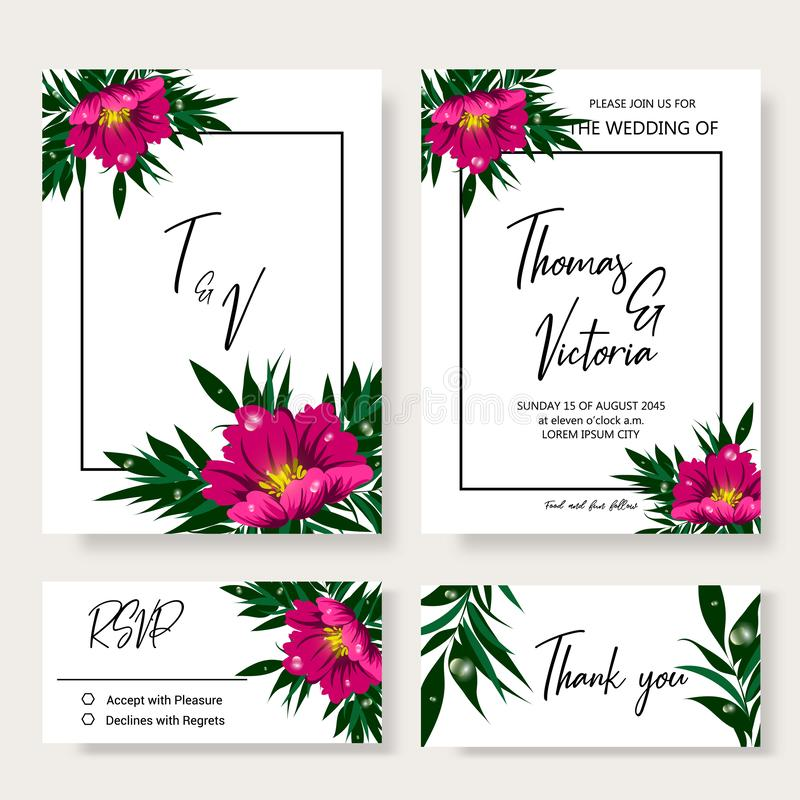 Wedding invitation template with tropical decorative elements stock images