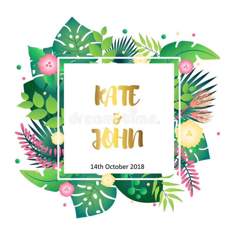 Wedding invitation template with tropical leafs royalty free illustration