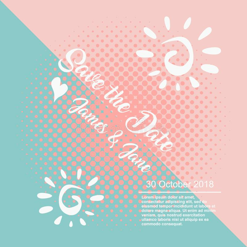 Wedding invitation template vector with hand drawn typography. Isolated on punchy pastel colors stock illustration