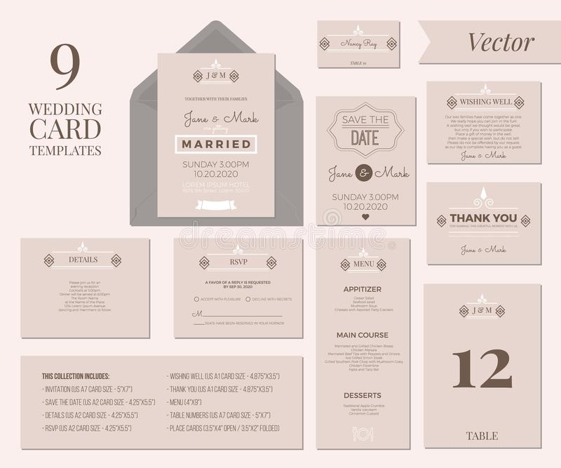 Wedding Invitation Template. Vintage Minimal Wedding Invitation Card Collection Set Template Layout stock illustration