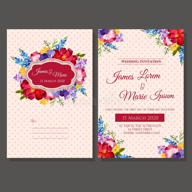 Wedding invitation template watercolor floral. Vector illustration vector illustration