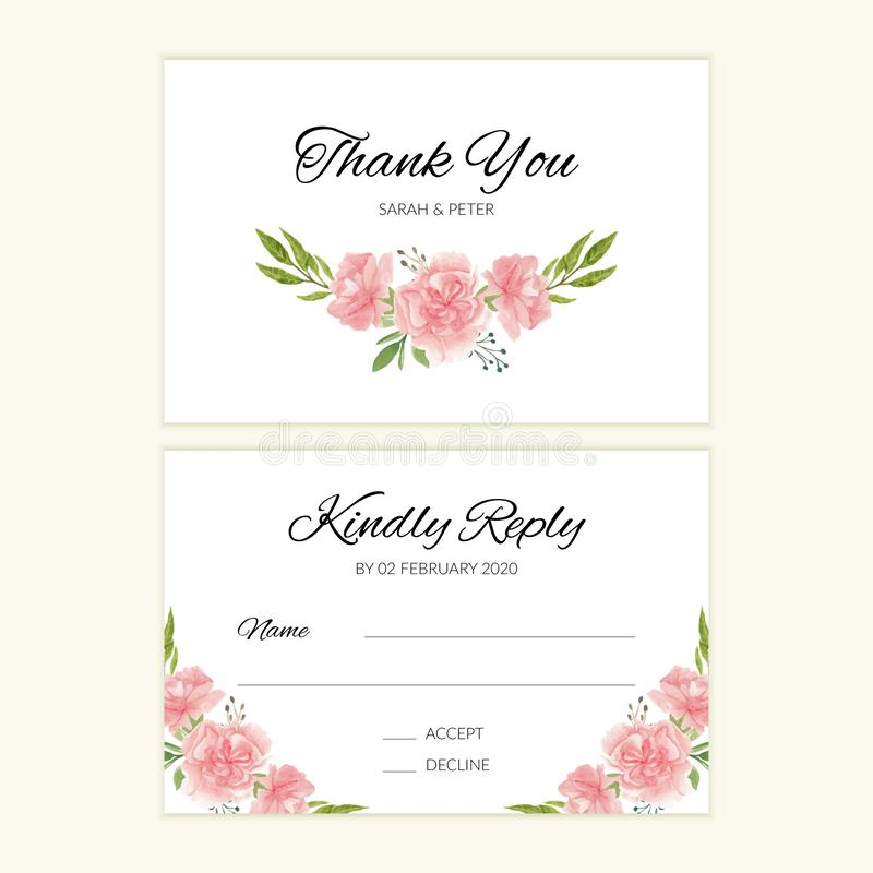 Wedding invitation template with watercolor flower bouquet 向量例证