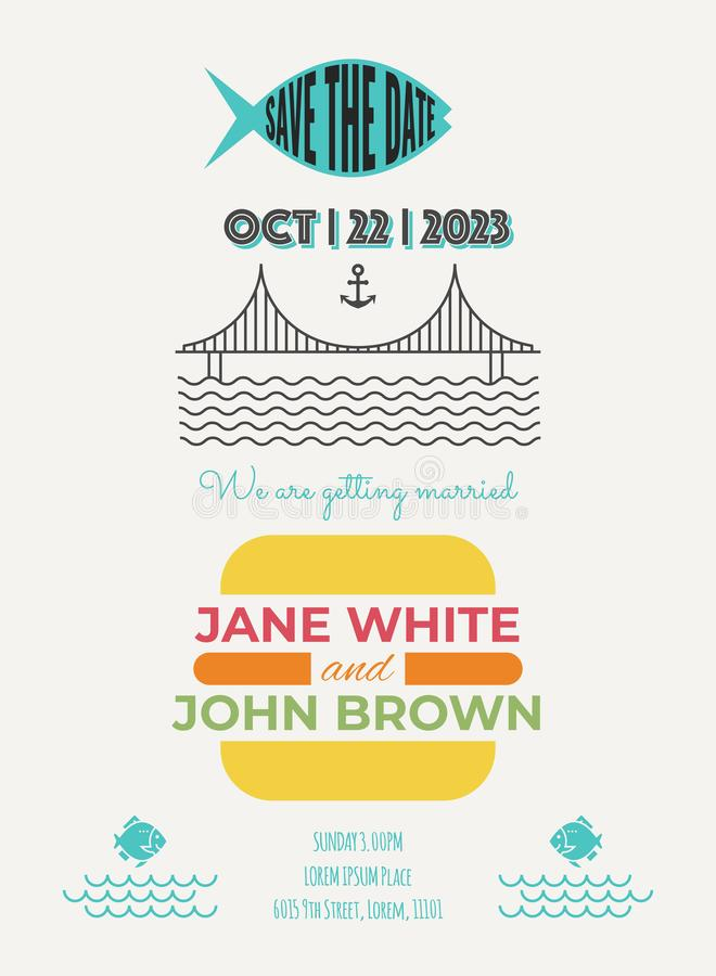 Wedding Invitation Template. Wedding Invitation Card Template wiht nautical concept royalty free illustration