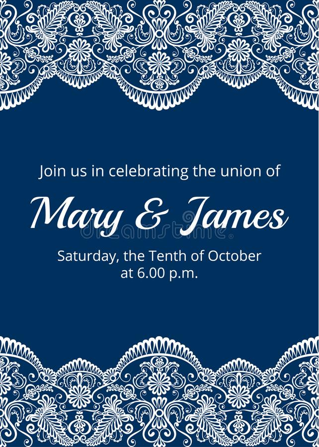Wedding invitation template. With white lace border on blue background vector illustration