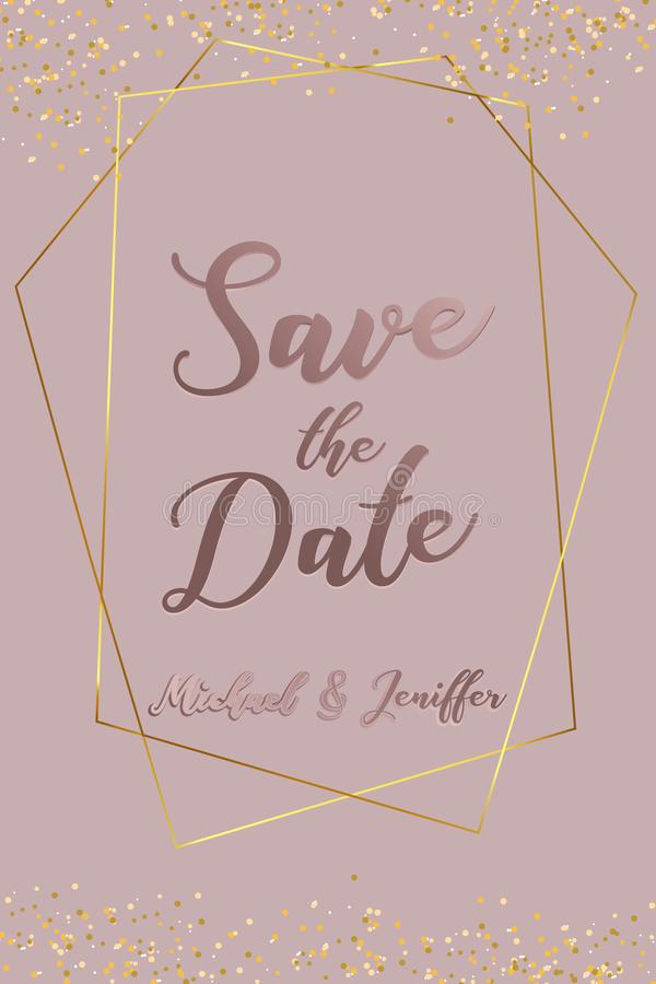 Wedding invitation, thank you card, save the date card. Wedding invitation, baby shower, menu, flyer, banner template with calligr. Aphy, confetti, background vector illustration