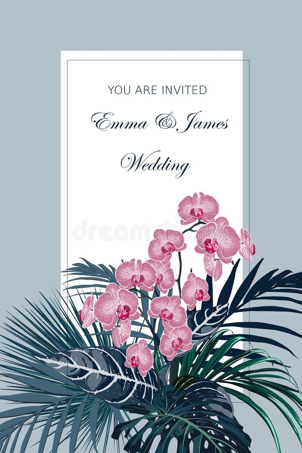 Wedding invitation, tropical leaves and flowers composition, watercolor style. vector illustration