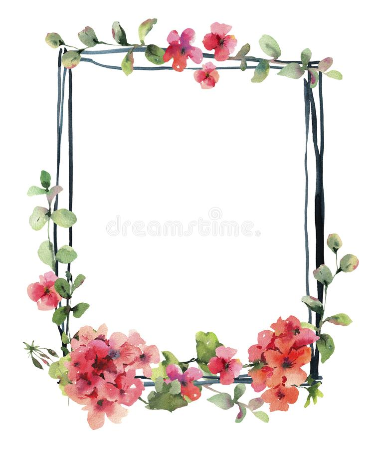 Wedding Invitation, Vertical Frame Watercolor Flower Geranium, Pelargonium, Red Flowers. Watercolor Flower Geranium, Pelargonium, Red Flowers, Natural Isolated stock illustration