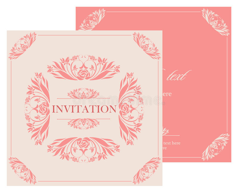 Wedding invitation vintage card with floral and antique decorative elements. royalty free illustration