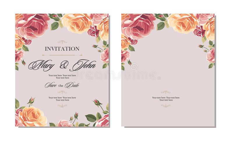 Wedding invitation vintage card with roses and antique decorative elements. vector illustration