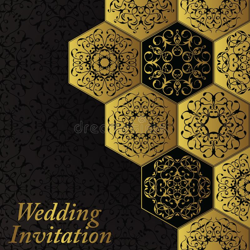 Wedding invitation with vintage diamond ornament. Vector jewelry seamless pattern. Luxury design and gold decoration royalty free illustration