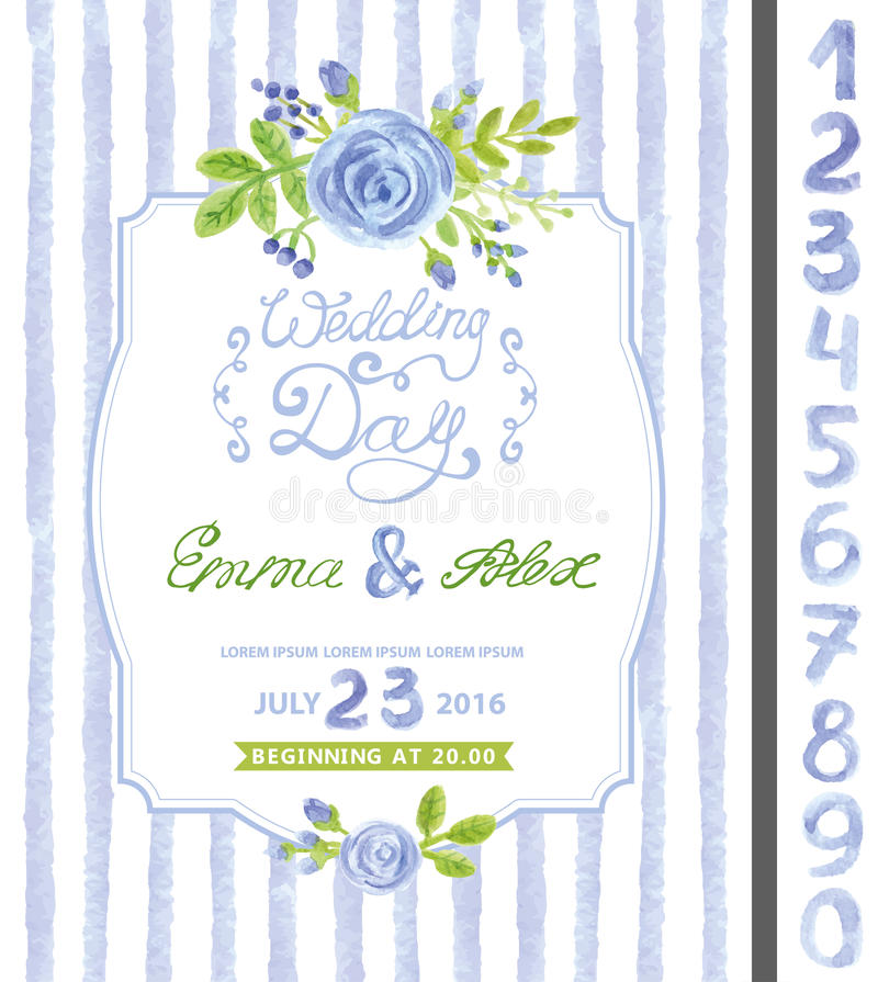 Wedding Invitation Template Clip Art At Clker Com: Wedding Invitation.Watercolor Blue Flower,strips Stock