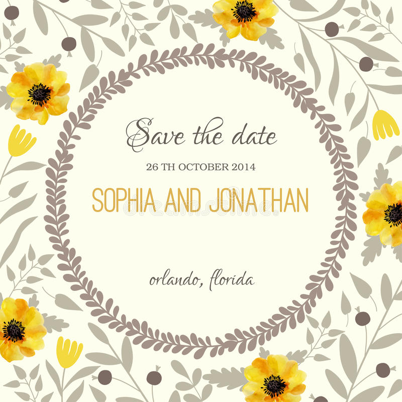 Wedding invitation watercolor with flowers. Illustration for greeting cards, invitations, and other printing projects stock illustration
