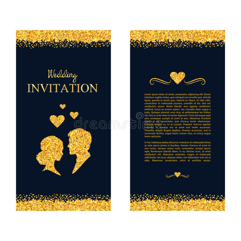 Wedding invitation. Wedding card with gold shimmer. Save the dat stock illustration