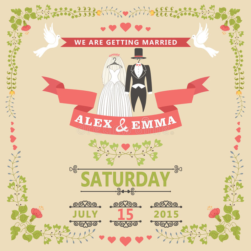 free online wedding save the date templates - wedding invitation with wedding clothes and floral frame