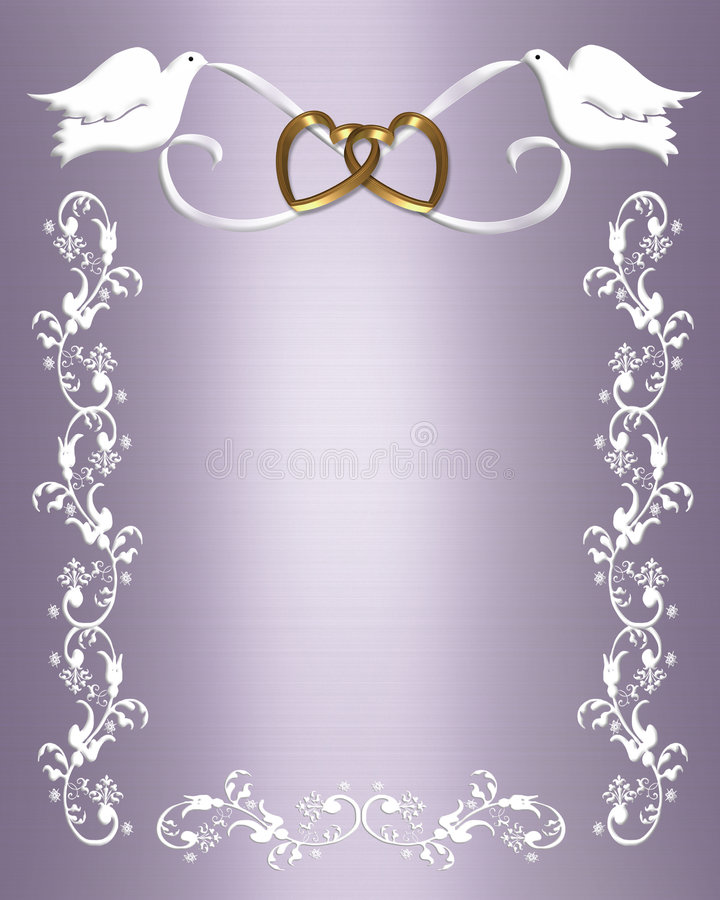 Wedding Invitation white doves stock illustration