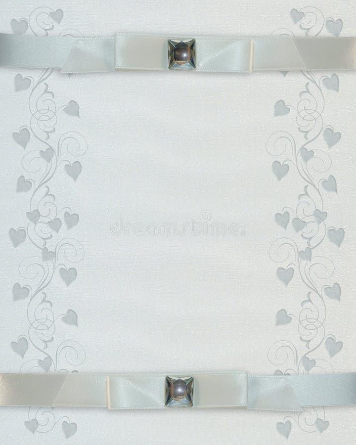 Wedding invitation White ribbons stock photos