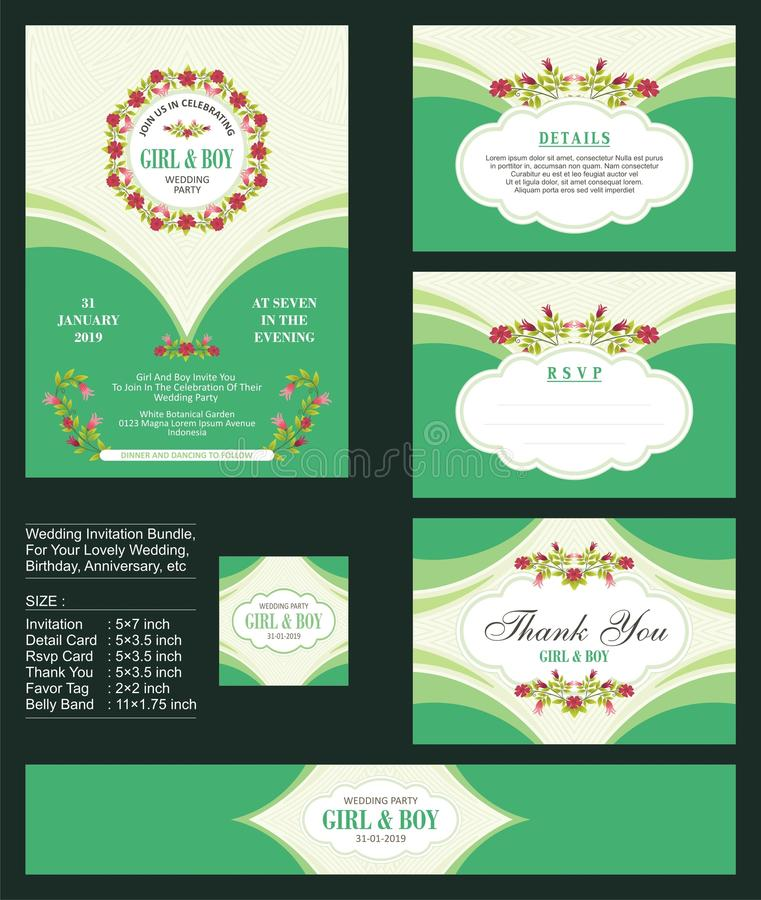 Free Wedding Invitation, With Floral Bouquets And Wreath Design Royalty Free Stock Photography - 107975267