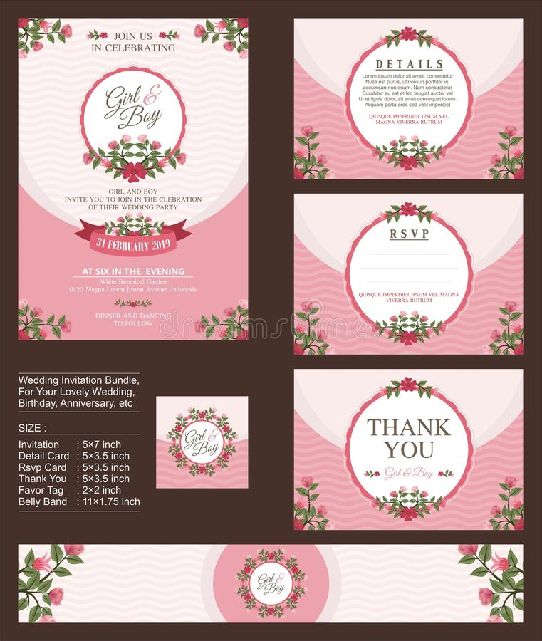 Free Wedding Invitation, With Floral Bouquets And Wreath Design Royalty Free Stock Photography - 107975357