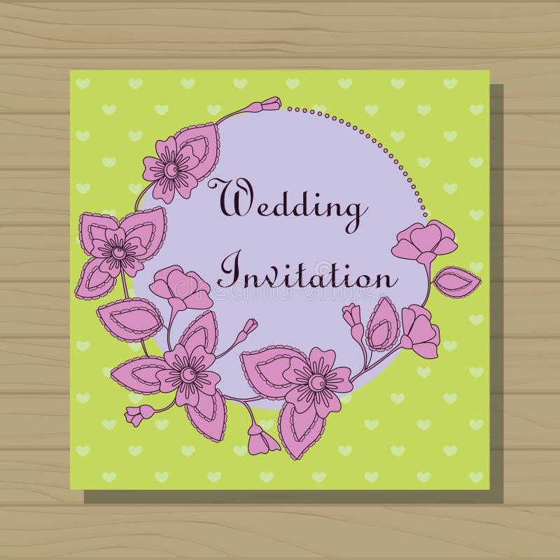 Wedding invitation on wooden background. Vector wedding invitation on wooden background royalty free illustration