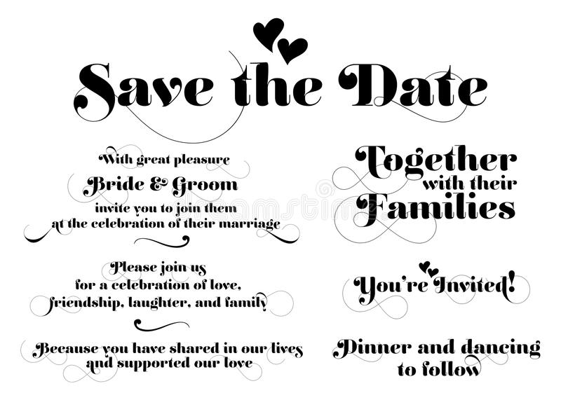 Wedding Invitation Wording. Vector Calligraphy with Swash and Two Hearts. royalty free illustration