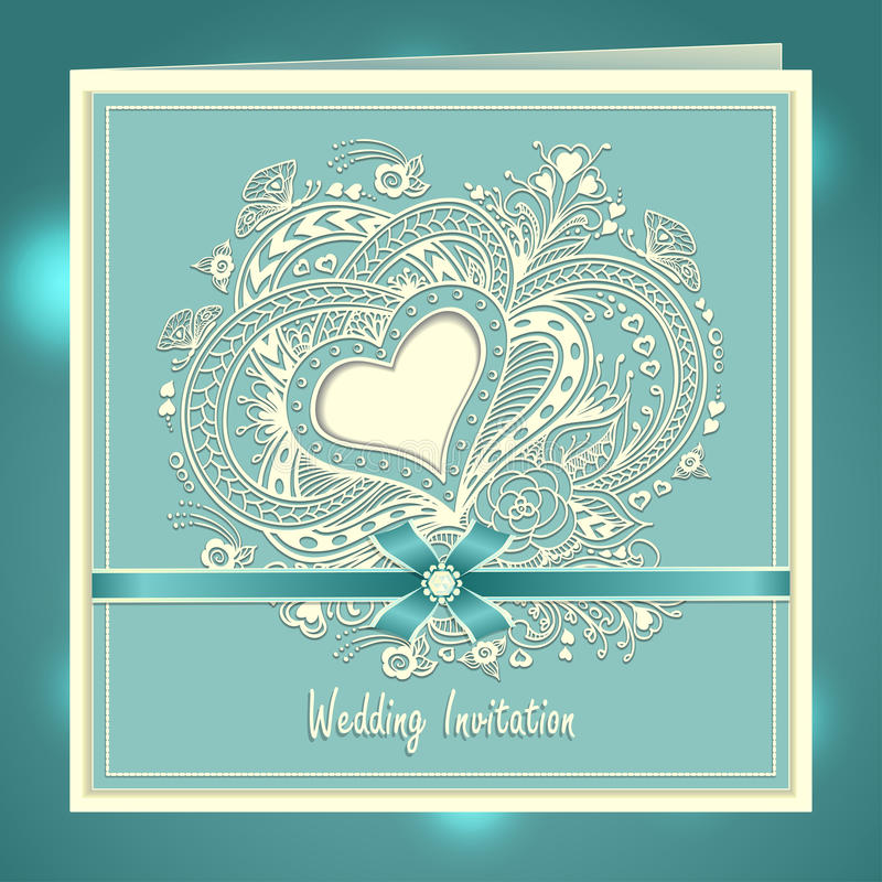 Wedding invitation with zen doodle heart frame flowers bow ribbon in download wedding invitation with zen doodle heart frame flowers bow ribbon in blue stock vector stopboris Images