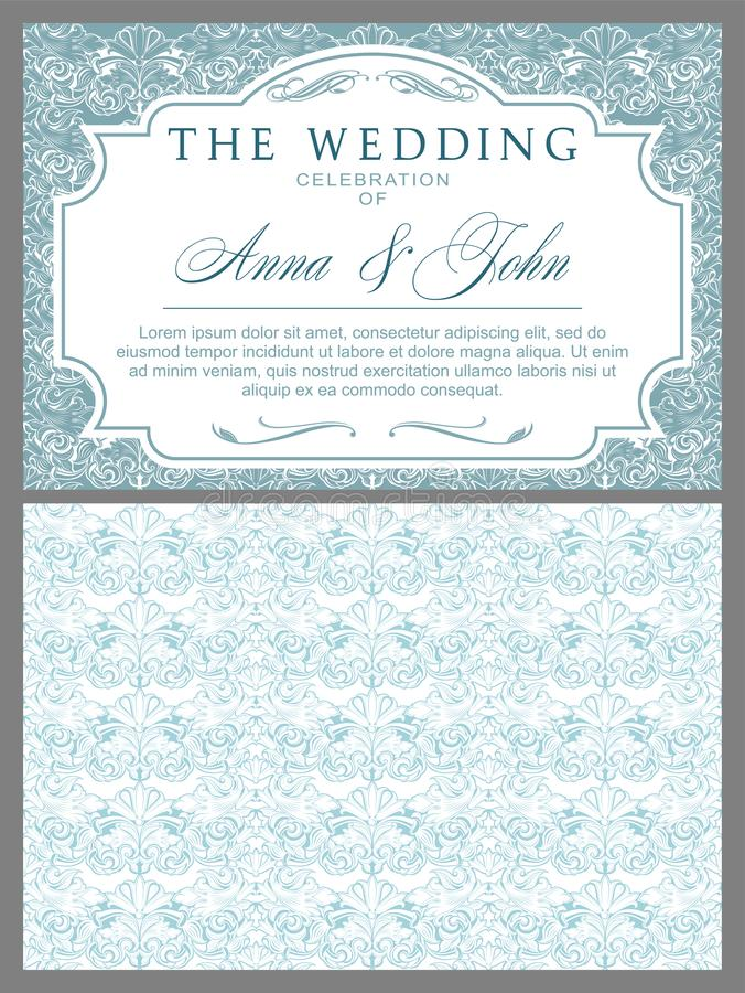 Wedding invitations in Baroque style royalty free illustration