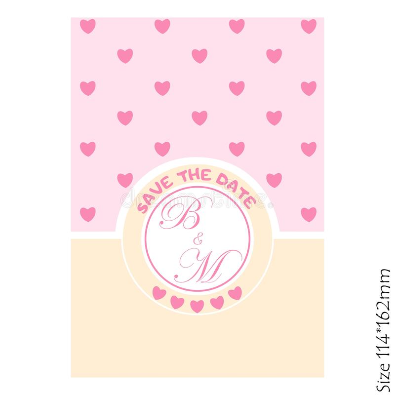 Wedding Invitations - save the date-with hearts cards. Vector illustration stock illustration