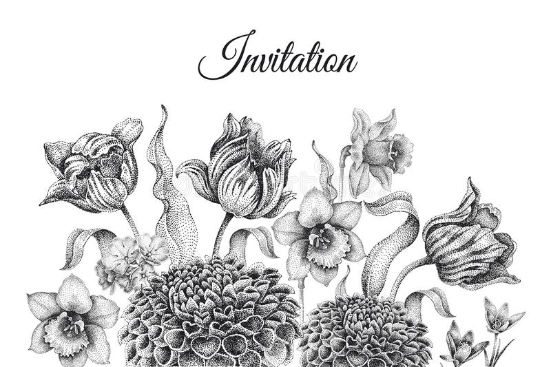 Wedding invitations templates cards with flowers tulips, dahlia. Wedding invitations cards templates. Decoration with garden flowers, frame pattern. Floral vector illustration