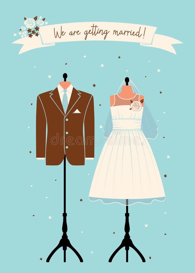 Wedding invitations with wedding suit stock images