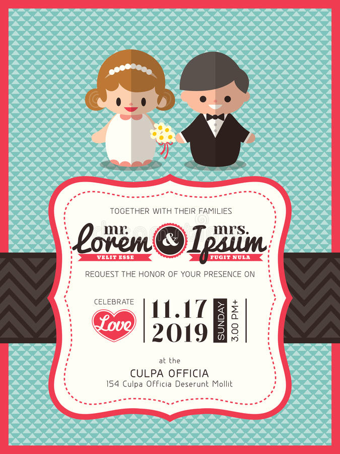 Wedding invite card template with groom and bride cartoon. Wedding invite card template with cute groom and bride cartoon icon stock illustration