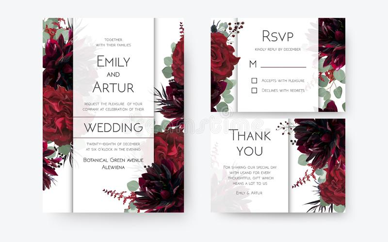 Wedding invite, invitation card, rsvp, thank you cards floral de stock illustration