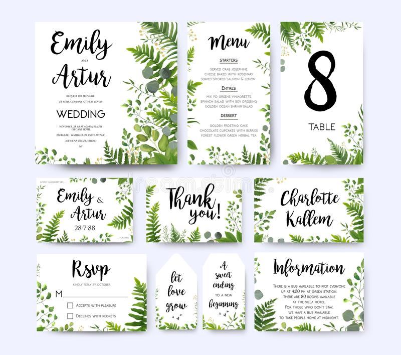 Wedding invite, invitation menu rsvp thank you card vector flora. L greenery design: Forest fern frond, Eucalyptus branch green leaves foliage herbs greenery vector illustration