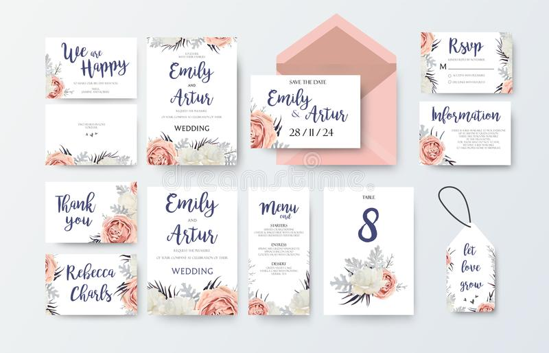 Wedding invite, invitation menu, thank you, rsvp, label card vector floral design with pink peach garden Rose, white peony flower royalty free illustration
