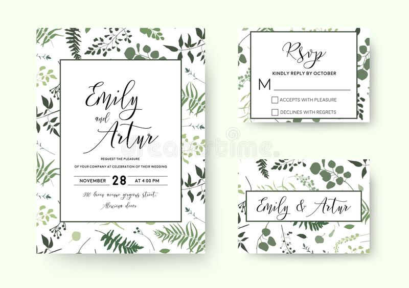 Wedding invite, invitation rsvp card vector floral greenery silhouette design: palm fern tree, foliage natural branches, green le stock illustration