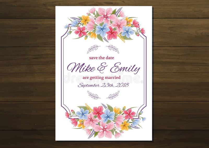 Wedding invite, invitation, rsvp, save the date card design with elegant lavender pink garden rose anemone, wax flowers vector illustration