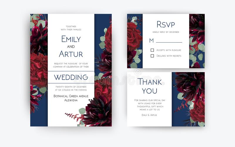 Wedding invite invitation, rsvp, thank you card floral color design. Red rose flowers, dahlias, eucalyptus silver dollar branches. Berries wreath modern royalty free illustration