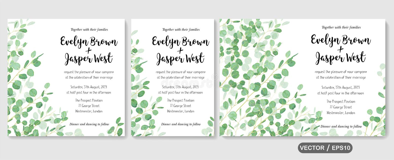 Wedding invite, invitation rsvp thank you card vector floral greenery design: evergreen leaf Eucalyptus branch, foliage herbs stock illustration